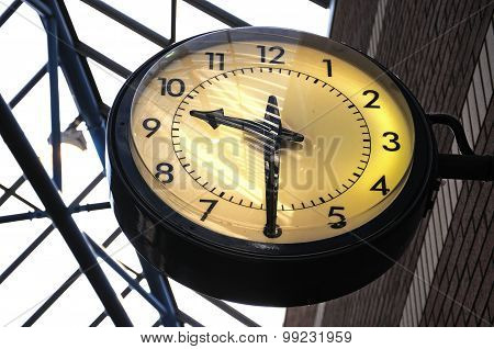 Large round clock.