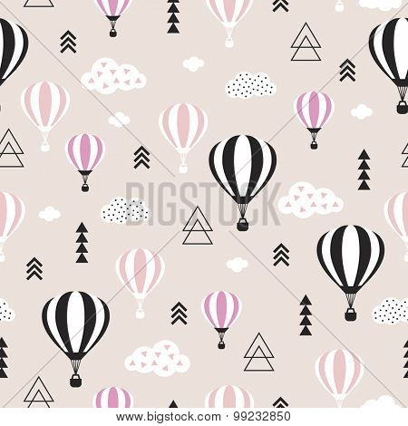 Seamless geometric hot air balloon illustration pastel pink clouds Scandinavian style background pattern in vector
