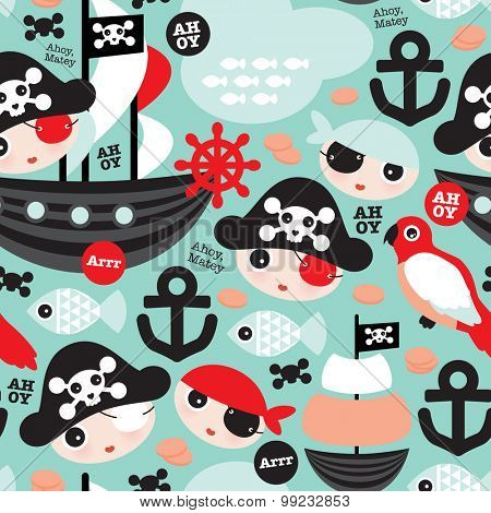 Seamless retro pirates illustration sailing the ocean mint and coral anchor background pattern in vector