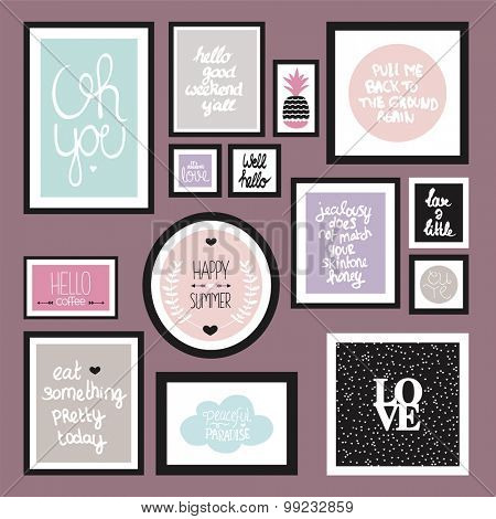 Trendy pastel color wall decoration typography quote home decor photo frame with inspirational life and love hand lettering text in vector