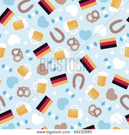 Seamless German icons pretzel flag beer and sausage Oktoberfest theme illustration background pattern in vector