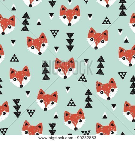 Seamless geometric baby fox kids woodland theme background Christmas mint and coral illustration pattern in vector