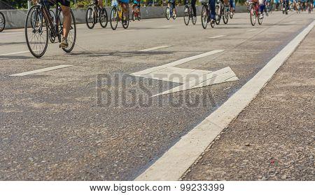 Image Of Asphalt Road And Bike With Sign For Background Usage.
