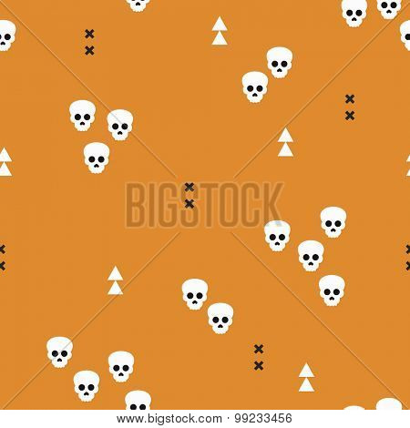Seamless Halloween horror skulls and geometric abstract elements illustration background pattern print in vector orange