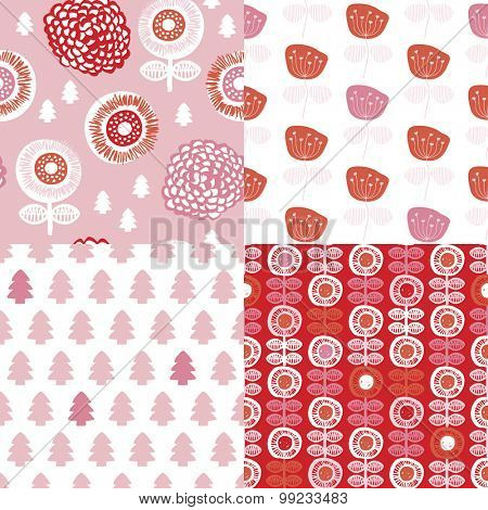 Seamless winter pink red retro garden flowers and nature elements for Christmas illustration background pattern in vector