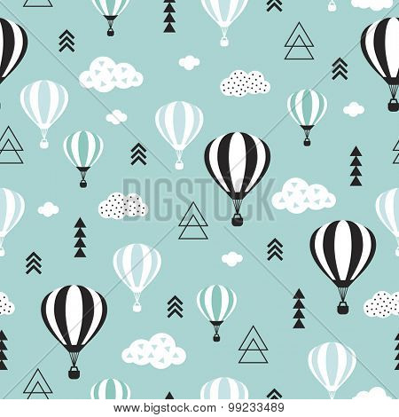 Seamless geometric hot air balloon illustration pastel pink clouds Scandinavian style background pattern in vector blue sky