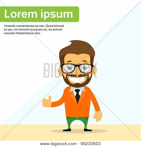 Cartoon Man Hand Shake Welcome Gesture Smile Person Character