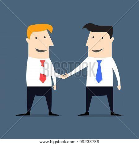 Flat style businessmen shaking hand