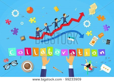Business People Running Red Arrow Graph Up Climbing Cartoon Businesspeople Group Team Collaboration