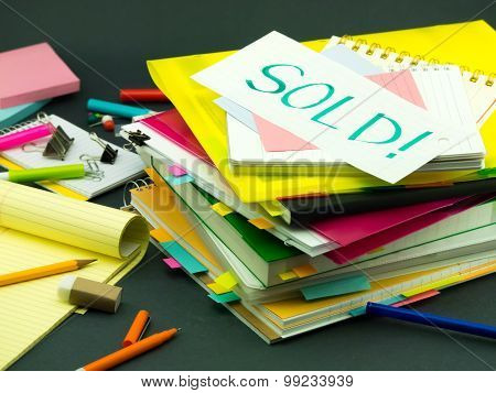 The Pile Of Business Documents; Sold