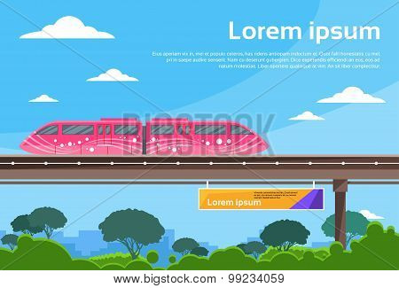Monorail Train Sky Subway Public Flat Vector