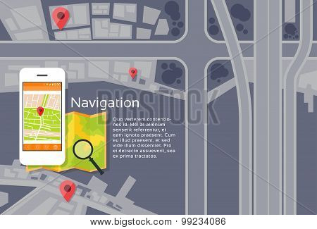 Phone Application City Map Navigation Search Street With Pins