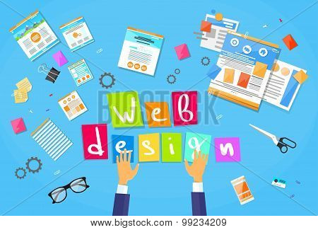 Web Development Create Design Site Building Businessman Hands