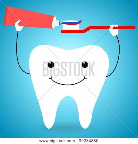 Happy tooth with brush and paste