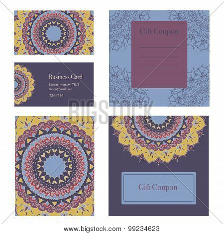 Mandala business set.Business cards, invitation, sale coupon, gift coupon.