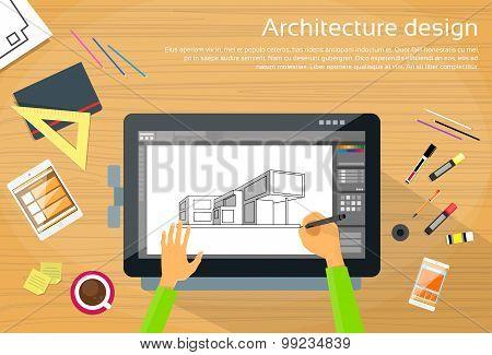 Architecture Designer Workplace Desk Big Digital Tablet Drawing
