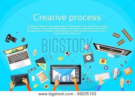 Creative Process Digital Designer Team Flat Vector