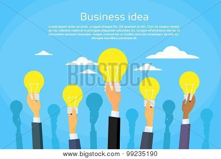 New Business Idea Concept Businesspeople Hands Holding Light Bulb