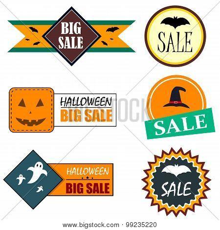 Flat style Halloween sale stickers