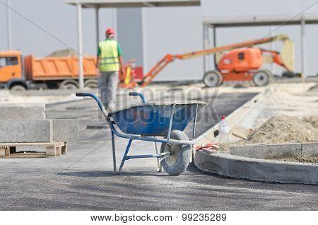 Wheelbarrow At Construction Site