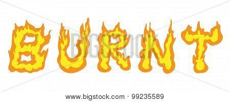 illustration text word design burnt
