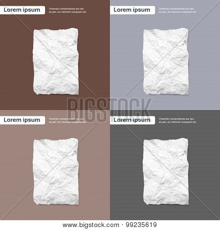 Blank Crumpled Paper Sheet, Empty Page Texture Brown
