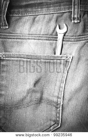 Wrench Tools In Jean Pants Black And White Tone Color Style