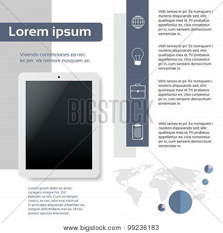 Tablet Infographics Web Page Layout Template Design Flat