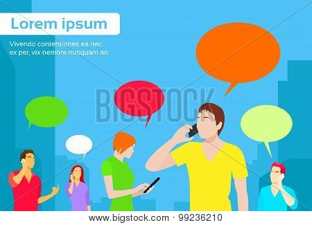 People Group Chat Social Network Communication Icons Colorful Flat