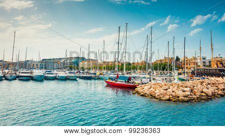 yachts on pier of Ta`Xbiex near Valletta in Malta