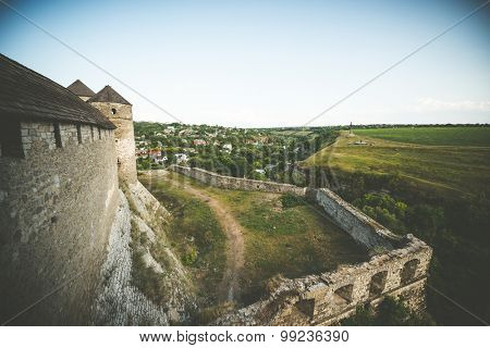walls of Kamenetz-Podolsky fortress and nearby settlement