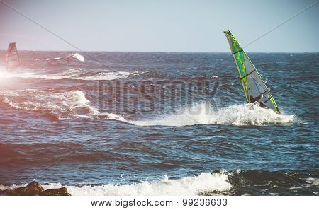windserfing in ocean