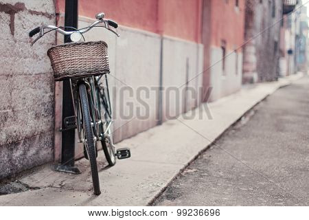 Vintage Photo Of A Bike In The Street. Soft Focus