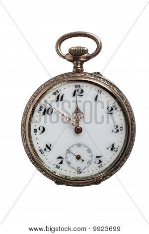 Antique Pocket Watch, Isolated On White