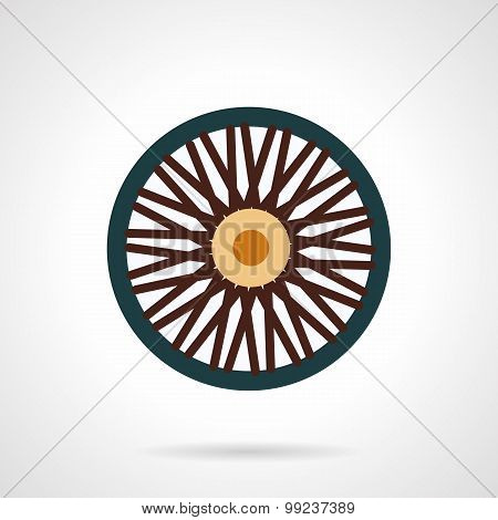 Single wheel flat vector icon