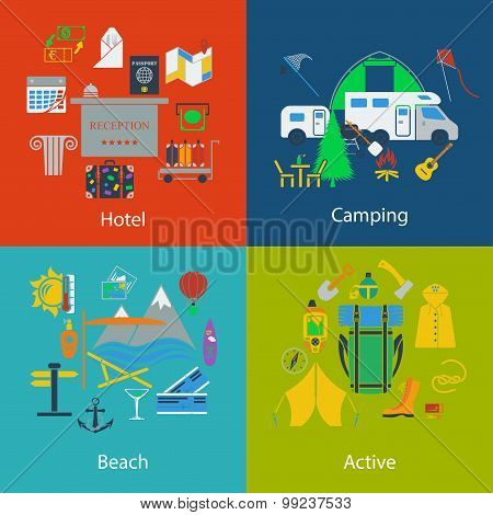 Set Of Travel And Camping Designs