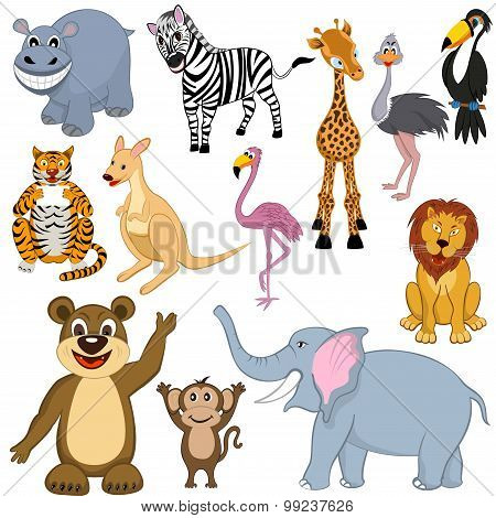 Set Of 12 Cartoon Animals