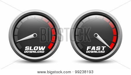 Slow And Fast Download Speed Icons