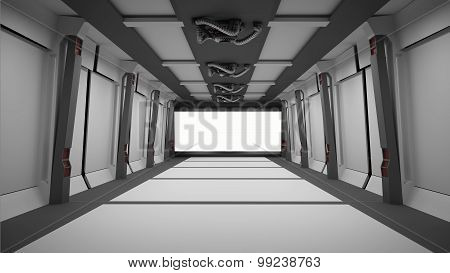 Sci Fi  Corridor With White Screen
