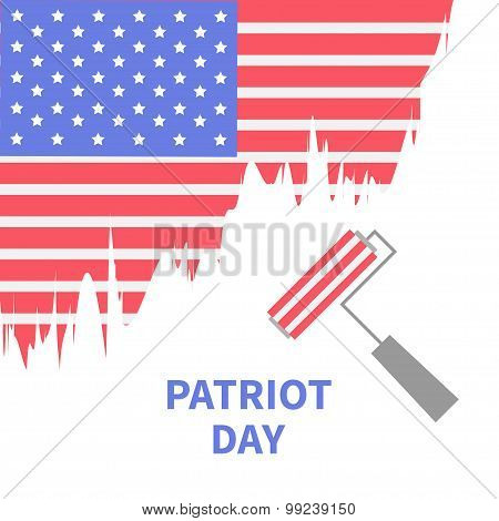 Paint Roller Brush Star And Strip Flag Isolated Patriot Day Flat Design