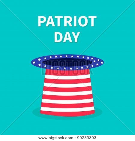 Hat With Stars And Strip. Patriot Day Background Flat Design