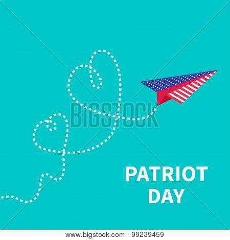 Patriot Day Background Paper Plane. Two Dash Line Hearts
