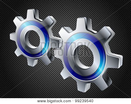 Gears On Hi-tech Background