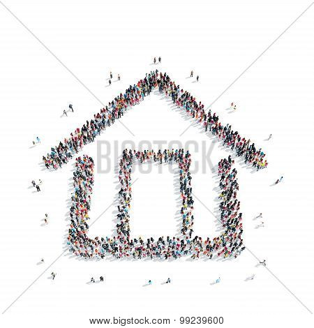 group  people  shape  house