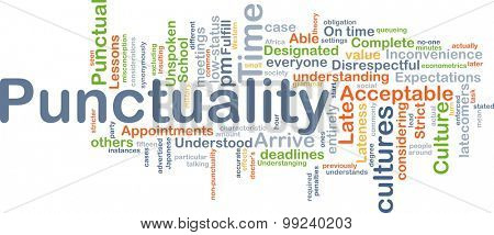 Background concept wordcloud illustration of punctuality