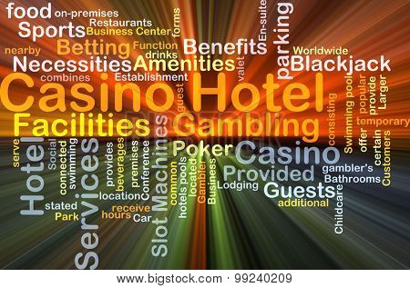 Background concept wordcloud illustration of casino hotel glowing light