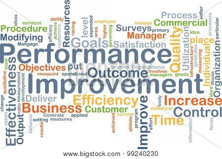 Background concept wordcloud illustration of performance improvement