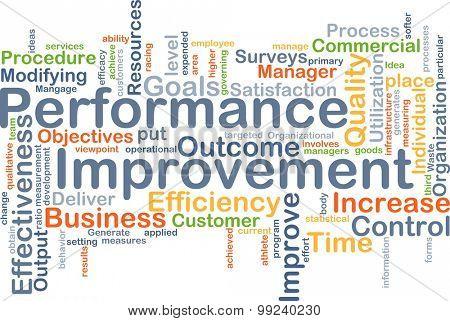 Background concept wordcloud illustration of performance improvement