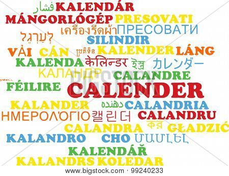 Background concept wordcloud multilanguage international many language illustration of calender