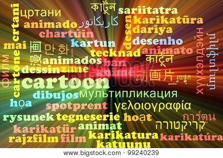 Background concept wordcloud multilanguage international many language illustration of cartoon glowing light